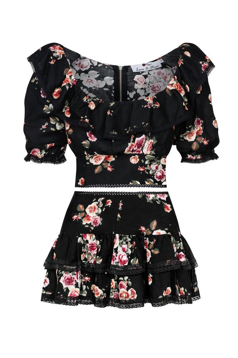 Flounced skirt Rose Black